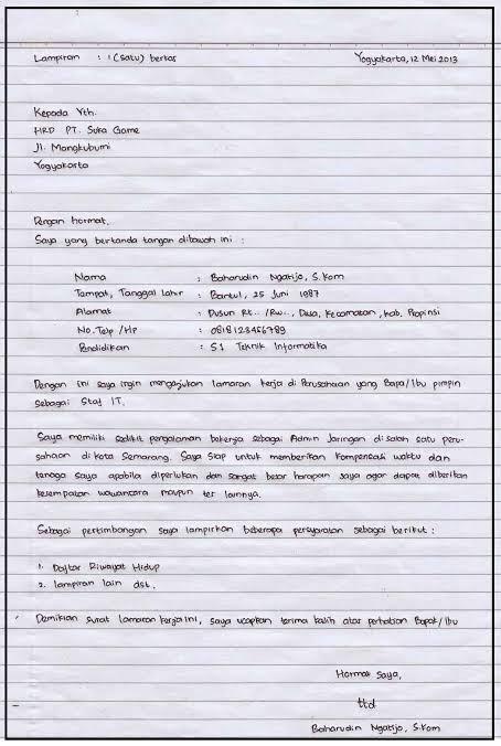 Contoh Surat Tulisan Tangan
