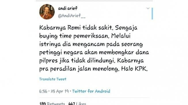 Cuitan Andi Arief soal Romahurmuziy alias Rommy. (Capture Twitter)
